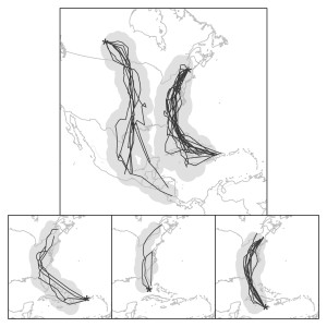 Figure 4. The most probable spring migration routes (lines) and 95% confidence intervals (shaded area) of Ovenbirds (n = 43) captured at five locations across a broad geographic distribution determined using 'noon' locations obtained with archival light-level geolocators. Capture locations are illustrated with dots. Fall migration was not considered because the Ovenbird migration overlaps with the fall equinox when latitudinal location estimates are not reliable.
